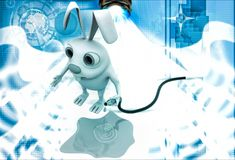 3d rabbit with water pipe illustration Stock Images