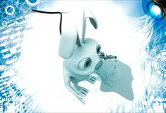 3d rabbit with water pipe illustration Royalty Free Stock Image