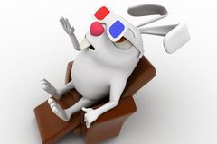 3d rabbit wear 3d glasses to watch movie in theatre concept Stock Photography