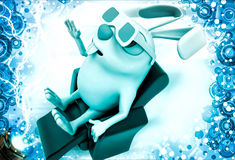 3d rabbit wear 3d glasses to watch movie in theatre illustration Stock Photography