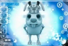 3d rabbit wear golden crown of  king illustration Stock Photos