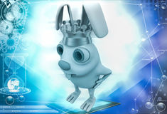 3d rabbit wear golden crown of  king illustration Stock Photography