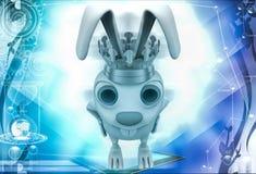 3d rabbit wear golden crown of  king illustration Stock Images