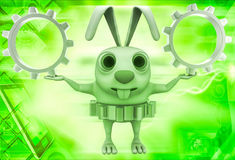 3d rabbit wear golden gear cogwheel and holding silver cogwheels in hands illustration Royalty Free Stock Image