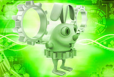 3d rabbit wear golden gear cogwheel and holding silver cogwheels in hands illustration Stock Photography