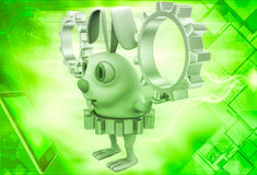 3d rabbit wear golden gear cogwheel and holding silver cogwheels in hands illustration Stock Photos