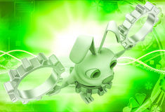 3d rabbit wear golden gear cogwheel and holding silver cogwheels in hands illustration Royalty Free Stock Images