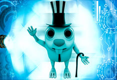 3d rabbit wearing outfit of british gentleman illustration Stock Images