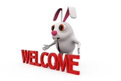 3d rabbit welcome concept Stock Images