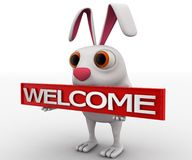 3d rabbit with welcome text in plate concept Stock Photo