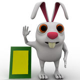 3d rabbit welcoming to advertise board concept Royalty Free Stock Image