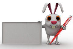 3d rabbit white board and pen concept Royalty Free Stock Image