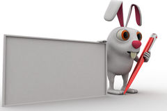 3d rabbit white board and pen concept Stock Photography