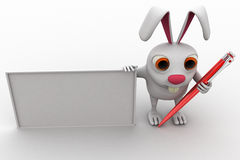 3d rabbit white board and pen concept Stock Images