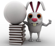 3d rabbit with white globe and books concept Royalty Free Stock Photography