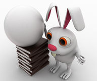 3d rabbit with white globe and books concept Stock Image