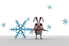 3d rabbit with winter symbol and scaff on neck concept Stock Image