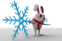 3d rabbit with winter symbol and scaff on neck concept Stock Photography