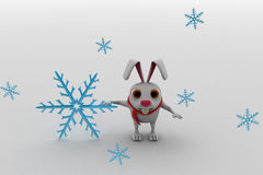 3d rabbit with winter symbol and scaff on neck concept Royalty Free Stock Photos
