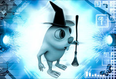 3d rabbit witch with hat and  broom stick illustration Stock Images