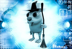 3d rabbit witch with hat and  broom stick illustration Royalty Free Stock Photo