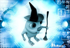 3d rabbit witch with hat and  broom stick illustration Royalty Free Stock Photography