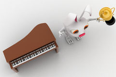 3d rabbit won music piano competition and holding award cup in hand concept Royalty Free Stock Photography