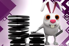 3d rabbit with work load illustration Royalty Free Stock Photos