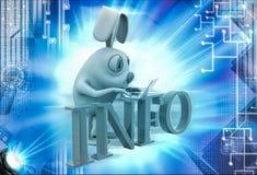 3d rabbit working on laptop on info illustration Stock Images