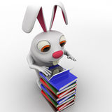 3d rabbit working laptop oin pile of books concept Royalty Free Stock Photography