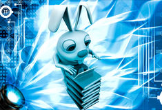 3d rabbit working laptop oin pile of books illustration Royalty Free Stock Photography