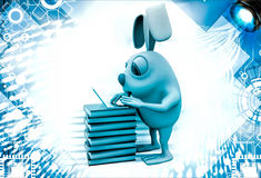 3d rabbit working laptop oin pile of books illustration Royalty Free Stock Images