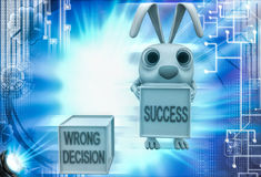 3d rabbit with wrong decision and success cube illustration Royalty Free Stock Photography