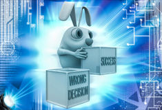 3d rabbit with wrong decision and success cube illustration Stock Image