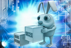 3d rabbit with wrong decision and success cube illustration Stock Photo