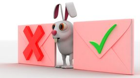3d rabbit with wrong and right symbols concept Stock Photo