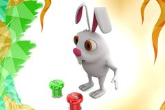 3d rabbit like or unlike  button illustration Royalty Free Stock Photo