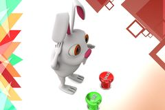 3d rabbit like unlike  button illustration Royalty Free Stock Photos