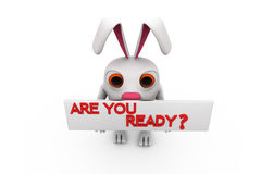 3d rabbit are you ready concept Royalty Free Stock Photos