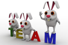 3d rabbits on colourful team text concept Royalty Free Stock Image