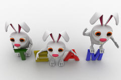 3d rabbits on colourful team text concept Royalty Free Stock Photography