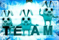 3d rabbits on colourful team text illustration Stock Image