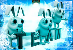 3d rabbits on colourful team text illustration Royalty Free Stock Images