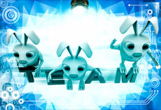 3d rabbits on colourful team text illustration Stock Photo