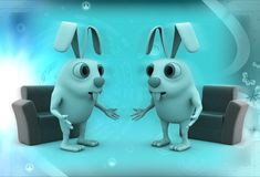 3d rabbits discussion before meeting illustration Stock Photo