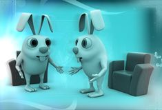 3d rabbits discussion before meeting illustration Royalty Free Stock Image