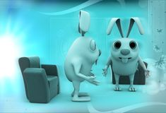 3d rabbits discussion before meeting illustration Stock Photos