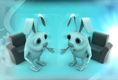 3d rabbits discussion before meeting illustration Stock Image