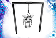 3d rabbits with gallows illustration Royalty Free Stock Image