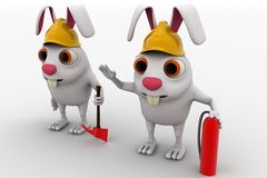 3d rabbits with helmet fire extinguisher and axe concept Stock Photography
